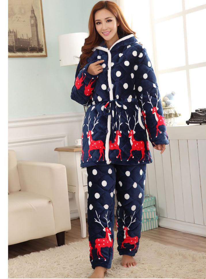 加长款三层加厚法兰绒夹棉睡衣女士冬学生个性连帽保暖套装家居服