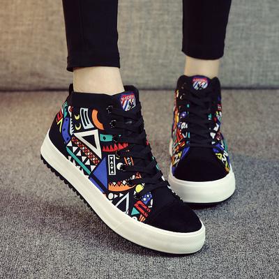 名将 2015秋冬新款韩版花色涂鸦学生鞋厚底松糕板鞋 高帮女帆布鞋