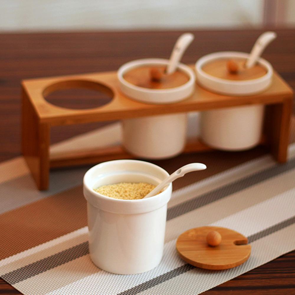 号百陶瓷调味罐套装配实用竹架餐厨酒店适用调味储存罐