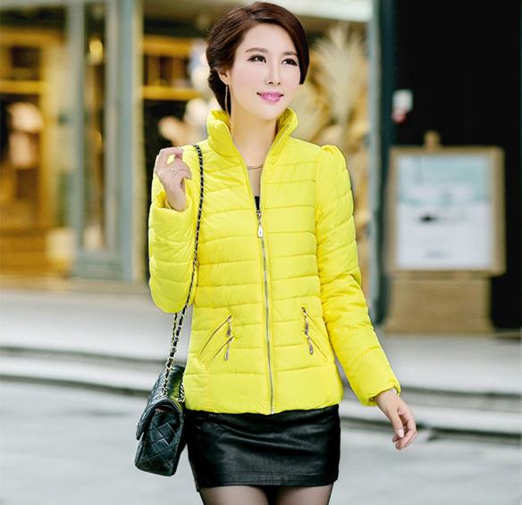 2014新款韩式时尚修身高档立领短款气质女装羽绒棉服棉衣外套