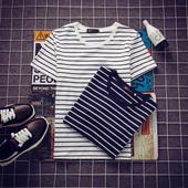 夏季男士条纹修身短袖T恤 学生韩版日系圆领半袖体恤男装潮流上衣