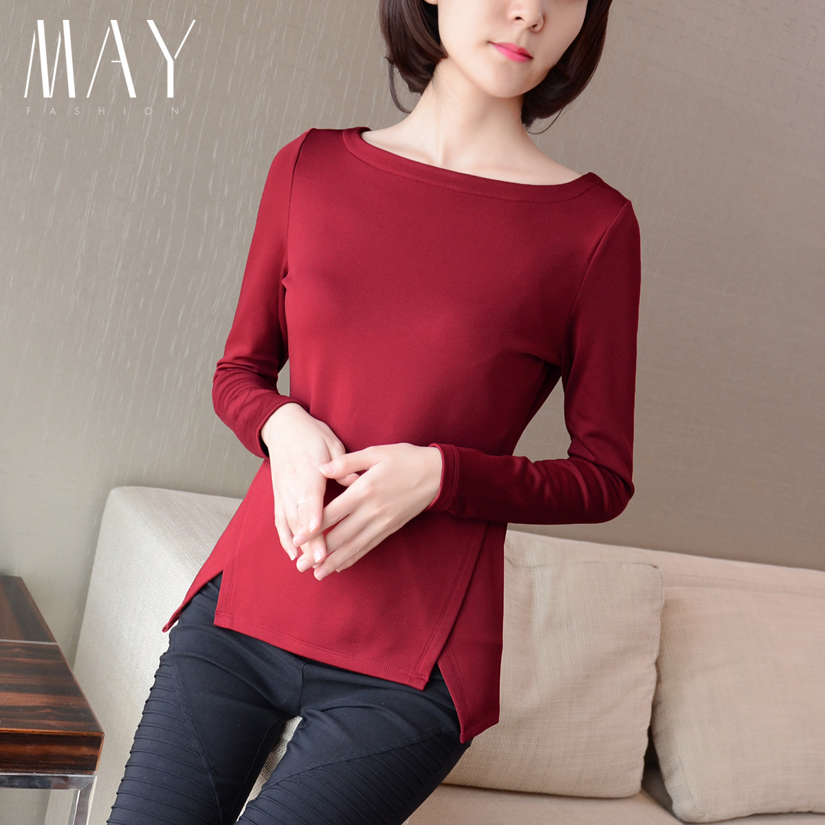 韩版2015春装新款大码修身不对称纯色女T恤加绒加厚显瘦打底衫 潮