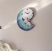 动物可爱月亮兔子挂钟静音卧室客厅儿童房幼儿园钟表创意时尚挂钟