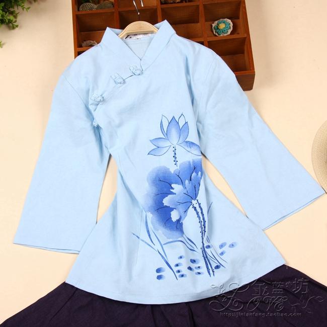 中国风唐装女士夏装纯色手绘中式茶艺师服装棉麻改良中袖旗袍上衣
