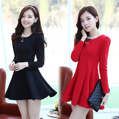 [最后一天] 2015秋季韩国流行新款正品大摆裙长袖修身显瘦女装性感打底连衣裙