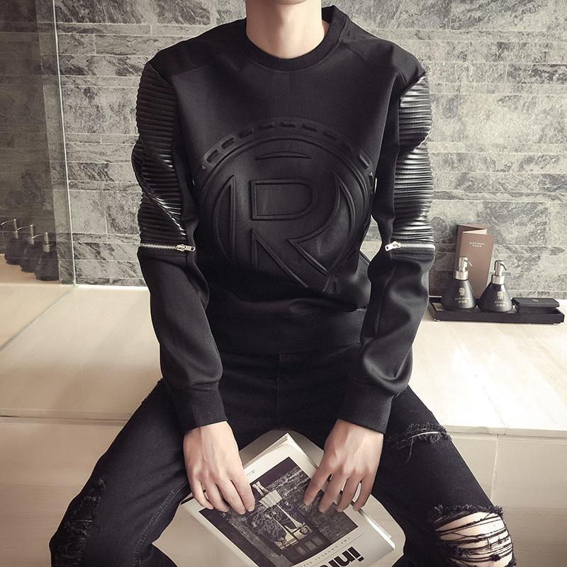秋季圆领太空棉卫衣男 套头韩版潮流学生印花3D加绒外套男士卫衣