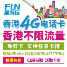 香港电话卡上网卡1天/2天/4天/7天不限流量4G旅游手机卡送取卡针