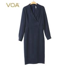 VOA40姆米重磅真丝平驳领衬衫袖中腰裹身一步裙修身连衣裙A3059图片