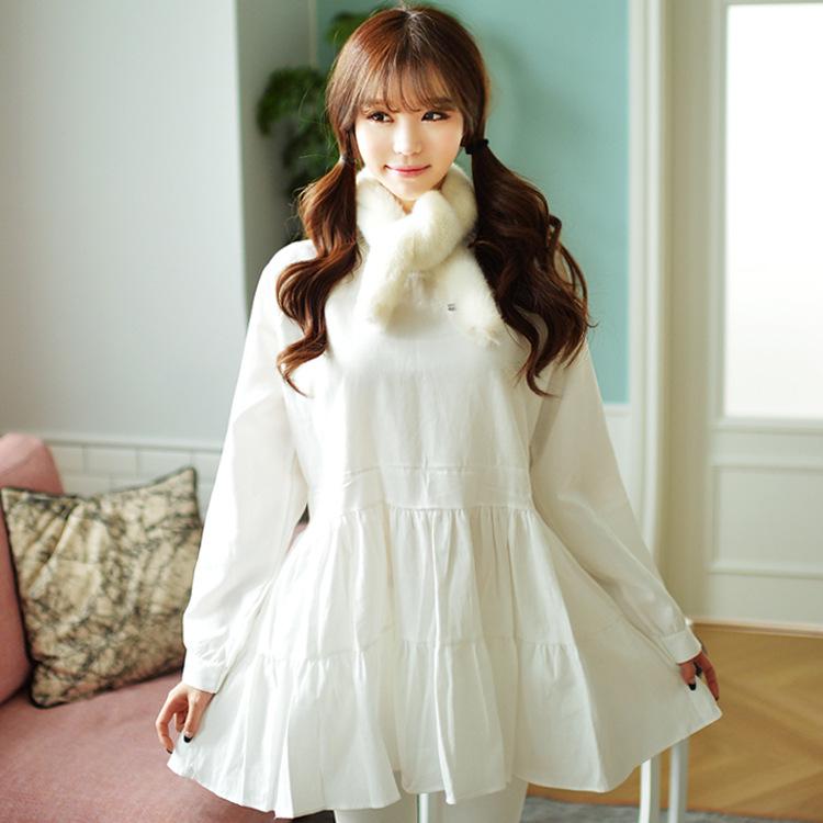 2015春季新款韩版女装清新气质纯色修身收腰大摆百褶连衣裙 F716