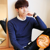 冬季男士毛衣加绒加厚韩版圆领套头针织衫线衣秋季潮男装学生外套