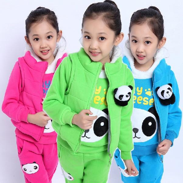童装冬款秋季加厚加绒学生三件套熊猫头大卫衣中大童韩版女孩衣服