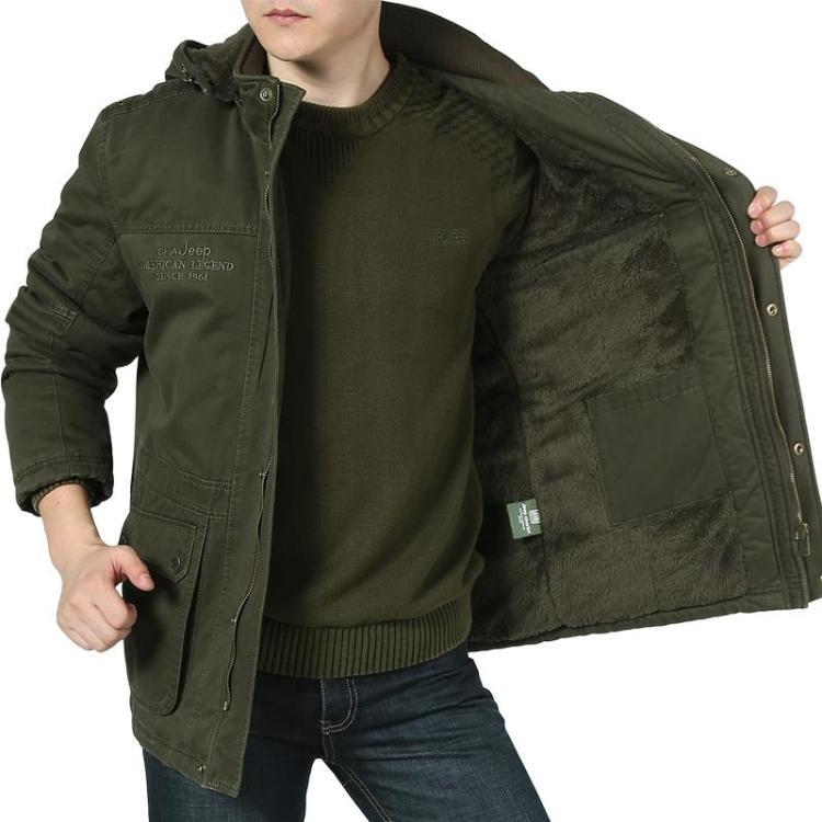 冬季正品jeep夹克 中年男士吉普战车中长款加绒加厚外套 宽松大码
