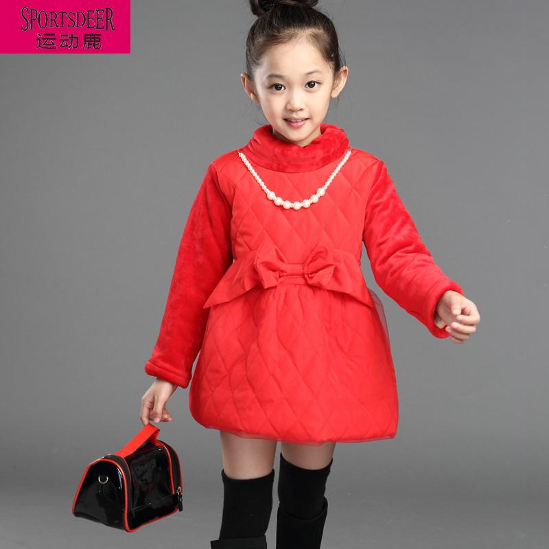 女童打底衫 秋冬加绒儿童打底衫加厚蝴蝶结高领淑女百搭韩版公主