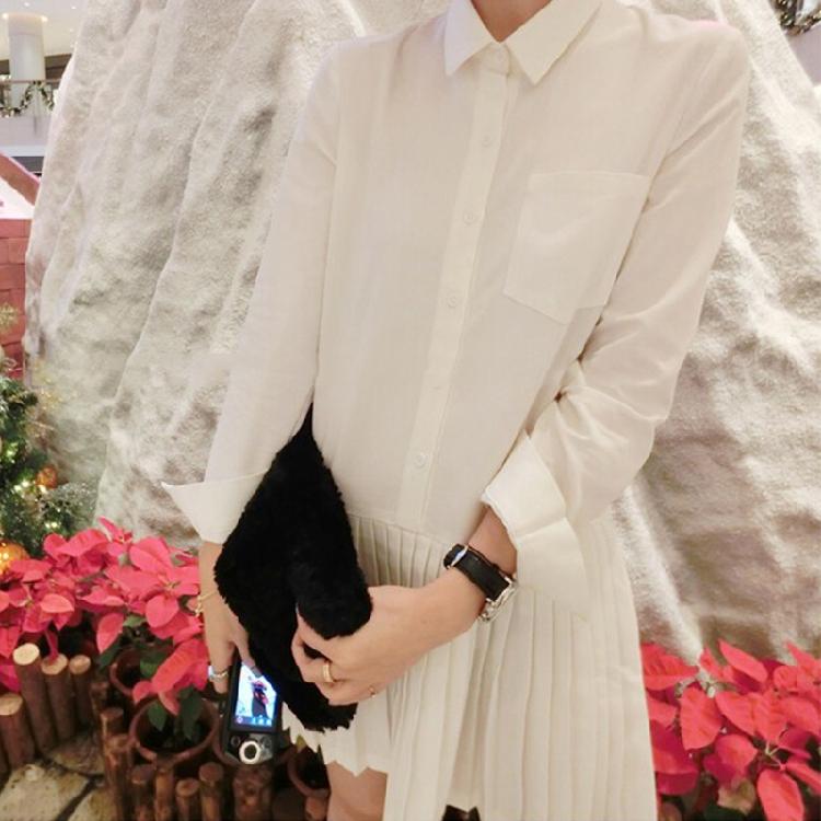 2015春季新品蘑菇街同款热卖质感百褶纯白色气质长袖短裙连衣裙女