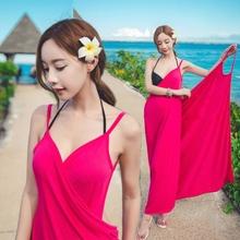 比基尼外套海边度假泳衣外披波西米亚露背吊带长裙沙滩裙裹裙浴巾
