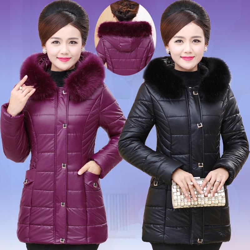 中老年人女装羽绒棉服外套冬装新款大码中长款妈妈装PU皮棉衣连帽