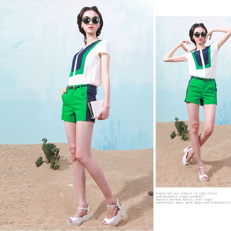 2014夏装新款 韩版女装撞色衬短袖女修身雪纺衫短裤二件套装