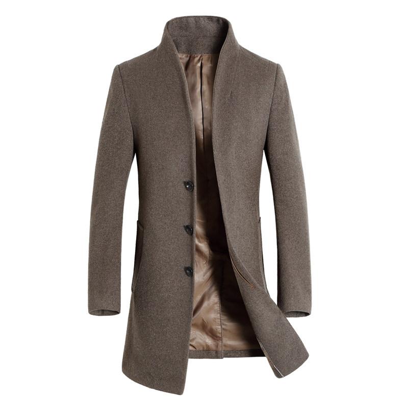 南极人秋冬男士大衣中长款羊毛风衣 加厚毛呢外套爸爸装加棉衣服