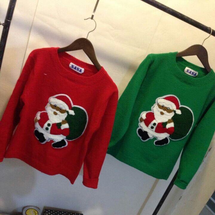 韩国毛衣女套头针织衫2014冬季新款圣诞老人时尚女装半高圆领上衣
