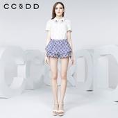 珠饰娃娃领拼接短袖 甜美泡泡袖 衬衫 新款 专柜正品 CCDD2016夏装