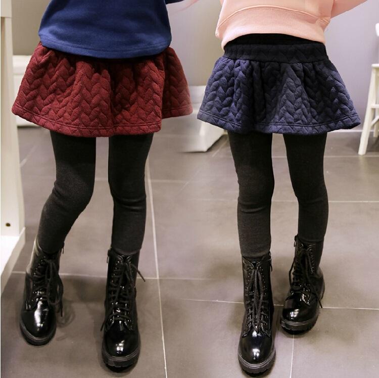 2014秋装新款百搭童裤女童加绒加厚打底裤 裤裙假两件套 紧身裤