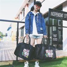 原创韩版短途旅行包女微章大容量休闲旅行袋男士行李袋手提健身包
