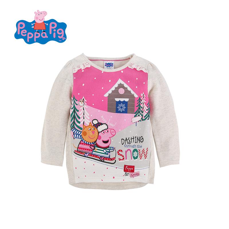 女童印花纯棉卡通可爱授权打底童装套头小猪长袖