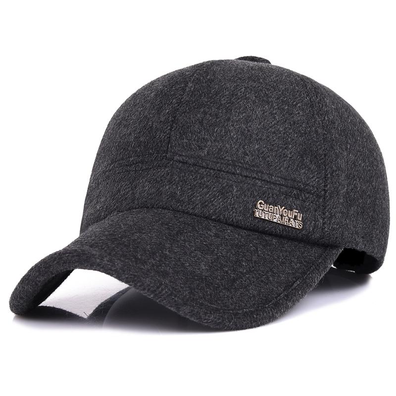 中老年冬季男士帽子冬天毛呢保暖棒球帽爸爸帽户外秋冬护耳鸭舌帽