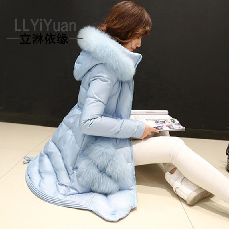 羽绒服女2014韩版奢华大毛领羽绒服中长款潮冬装新款女装外套 女