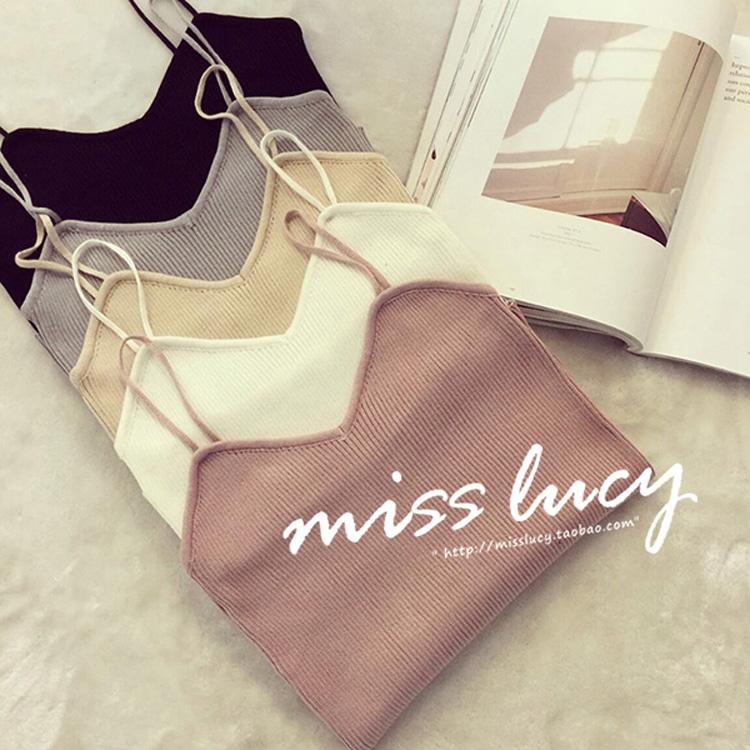 純色女短款小打底韓版百搭針織夏季性感背心吊帶