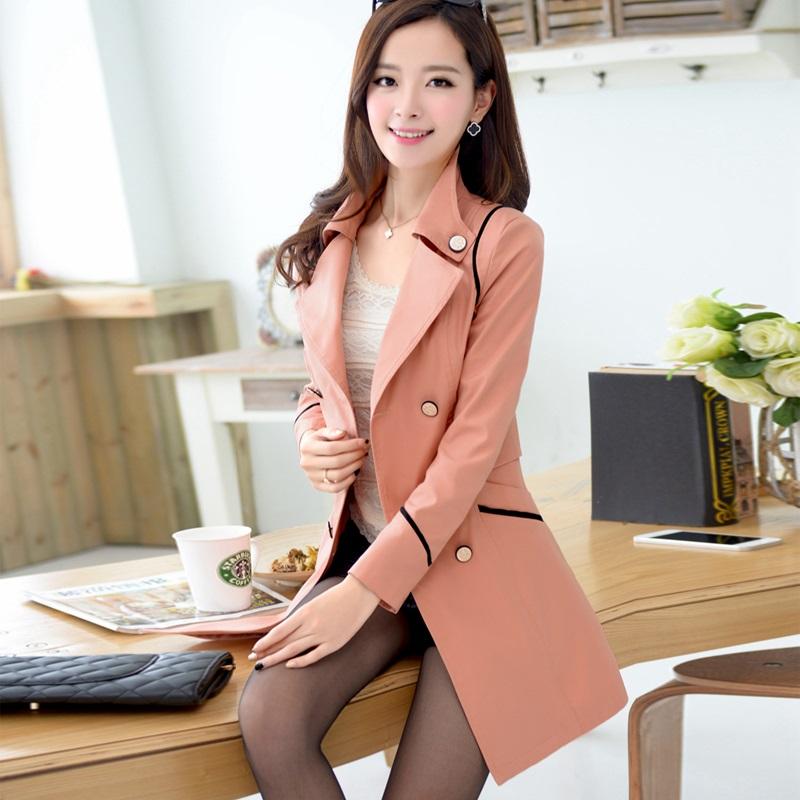 2014新款韩版修身外套女春秋中长款修身大码风衣女双排扣学院风潮