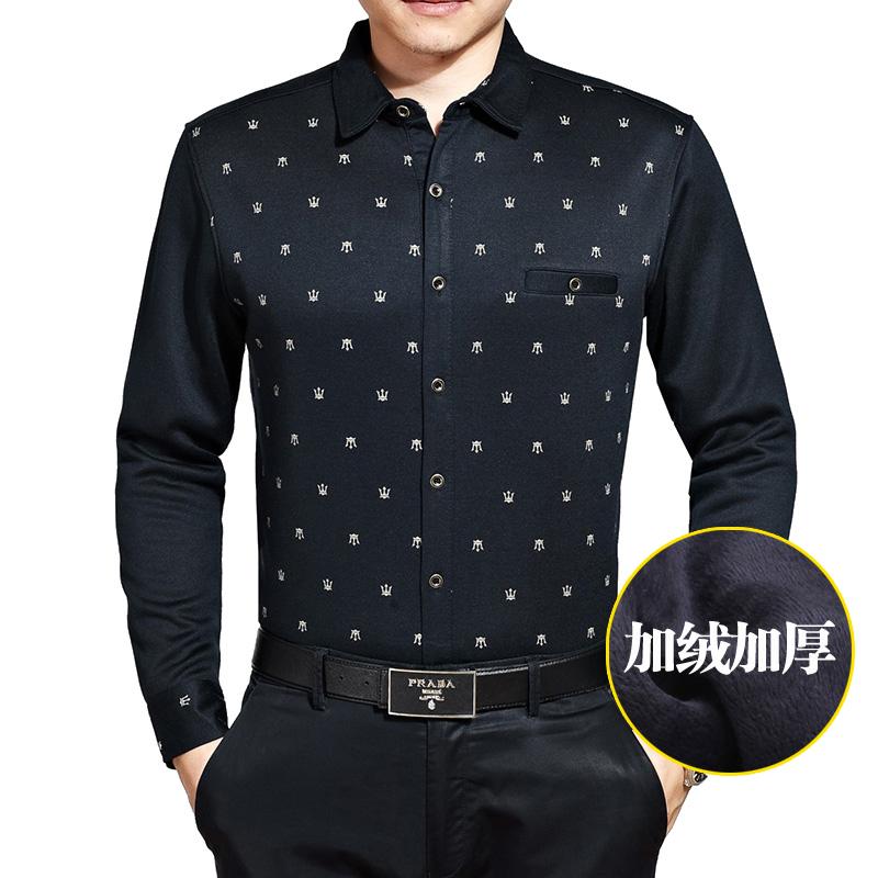 2014冬季新款男装正品男士高端商务休闲格子加绒加厚款长袖衬衫20