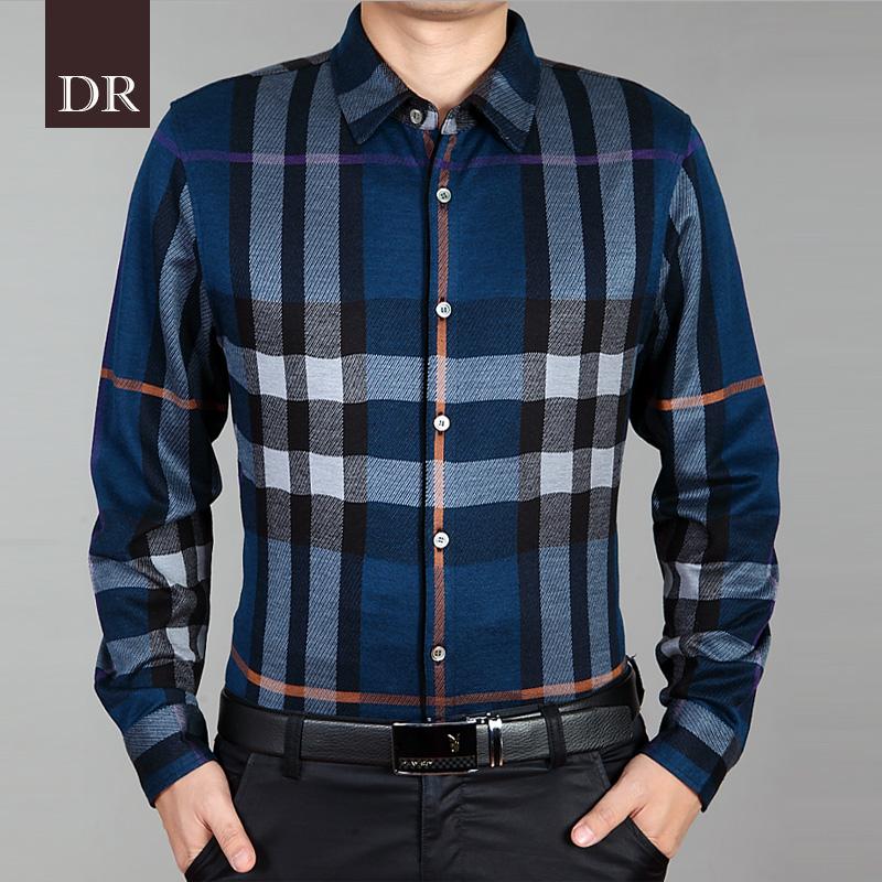 正品促销2014秋冬男士韩版修身加厚保暖衬衫长袖衬衣男格子T恤男