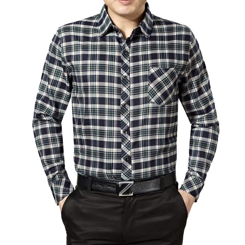 2014秋季新款男装正品男士商务大格子中年衬衫长袖口袋爸爸装1006