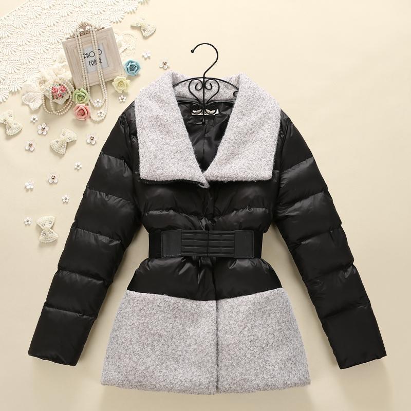 2014冬季新款韩版甜美修身显瘦外套羽绒棉棉衣一字领拼接上衣5874