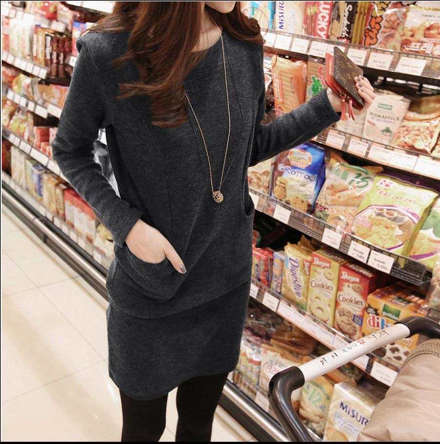 2015春装新款大码女装 胖mm韩版加肥加厚打底衫长款加绒长袖t恤