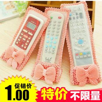 布艺蕾丝遥控器套透明蝴蝶结 防尘罩空调电视遥控器保护套