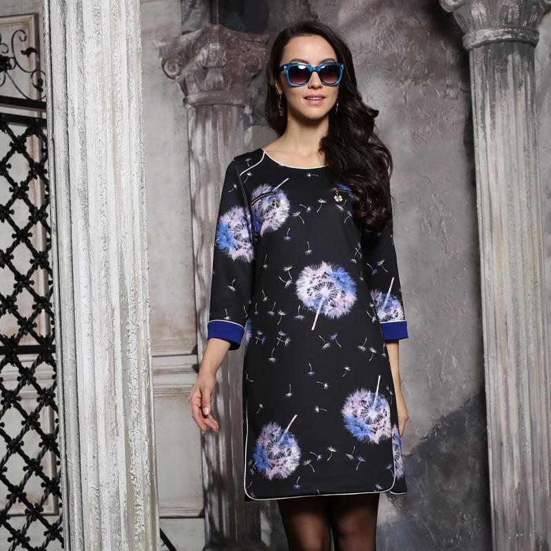 2014秋季新品时尚欧美风大码缘月宝姿7分袖连衣裙Q575