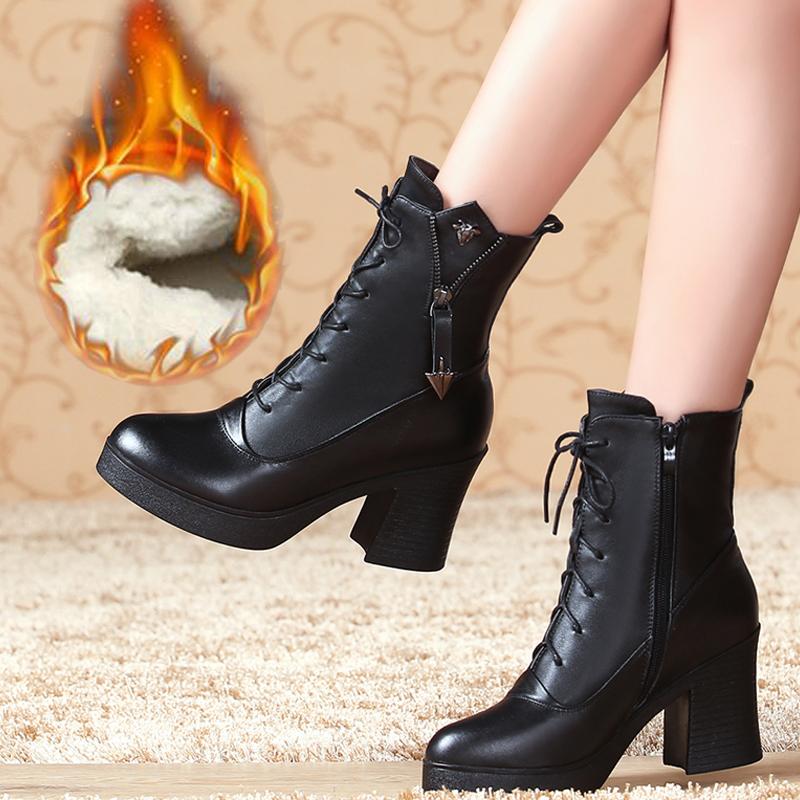 秋冬新款真皮马丁靴高粗跟牛皮棉靴大码41单靴子短靴羊毛保暖女靴满128元减5元