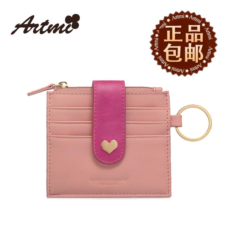 香港Artmi2014正品新款热销 甜美可爱心多卡位撞色拉链零钱包卡包