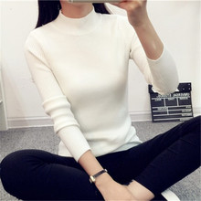 秋冬新款韩版上衣短款半高领针织打底衫长袖套头外套修身毛衣女
