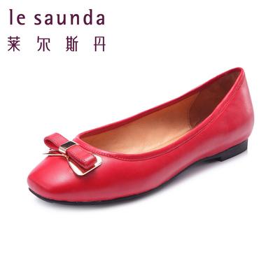 莱尔斯丹2015秋鞋方头女皮鞋单鞋平底鞋真皮一脚蹬女鞋6T11202