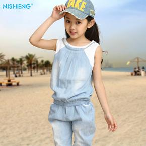 韩版童装女童夏装2015新款宝宝牛仔两件套中大童儿童衣服运动套装