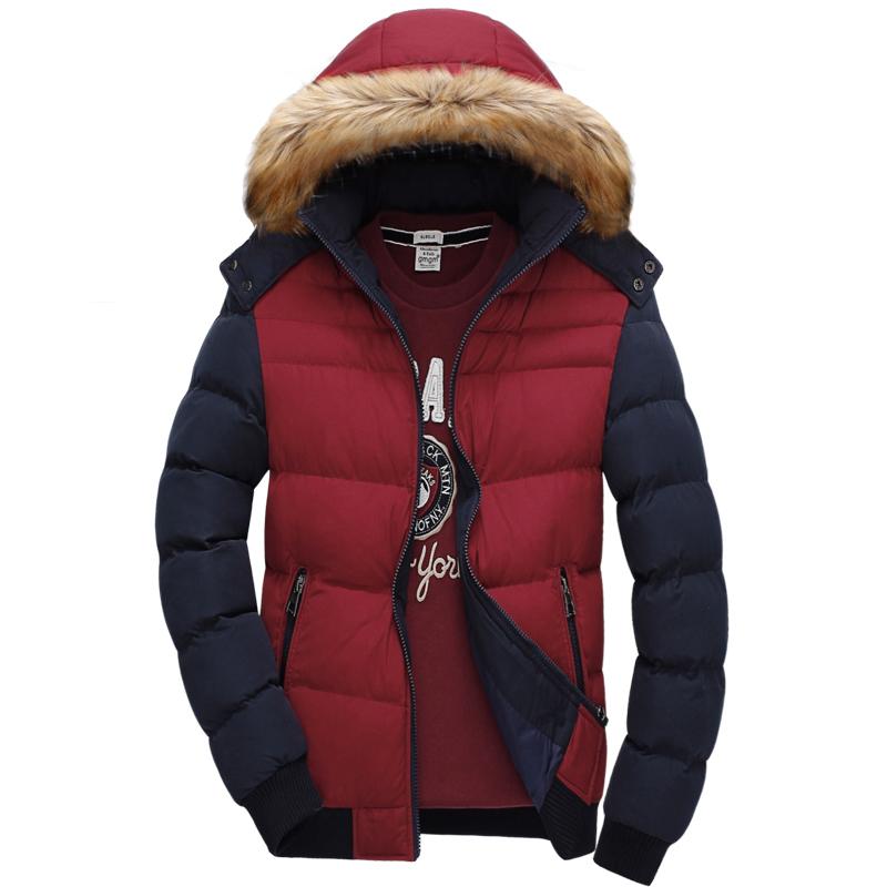 摩威男士保暖棉服加厚棉衣连帽修身韩版撞色青少年潮男士装外套