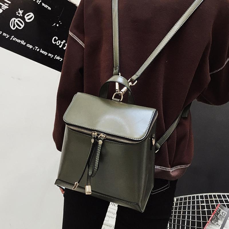 2017新款欧美复古双肩包女包学院风休闲多功能背包箱子包旅行书包