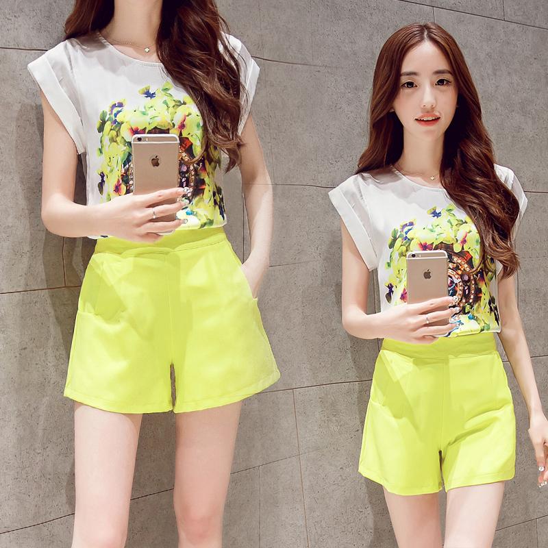 2015夏新款 大码时尚真丝印花修身显瘦短袖上衣阔腿短裤套装女