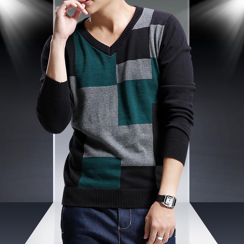 泰芝郎 2014秋装新款男士毛衣 韩版修身v领套头男士针织衫男装潮