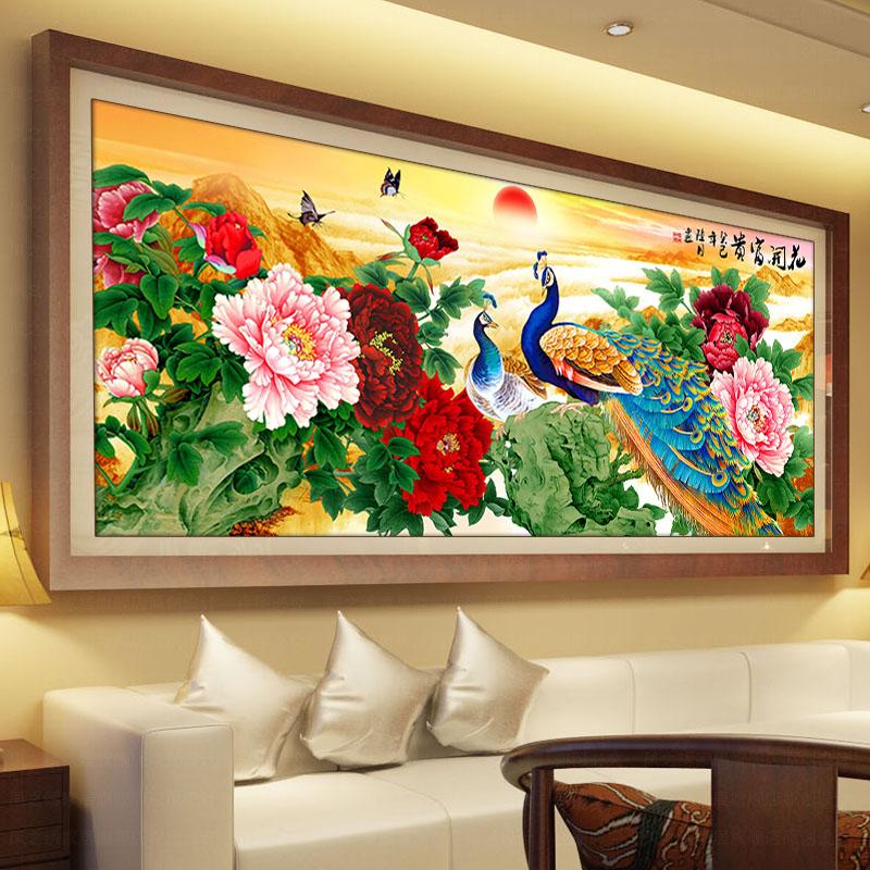 孔雀十字绣花开富贵新款客厅牡丹花十字绣孔雀系列3D精准印花丝线