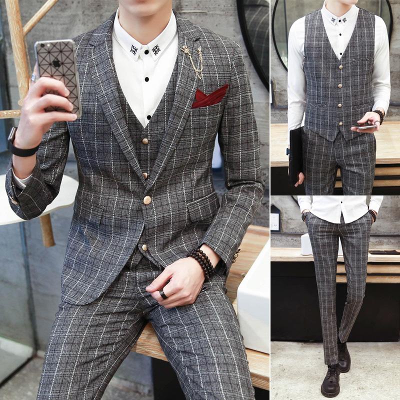 套装平驳领男装适合西服套装后中开衩修身精致韩风韩版常规