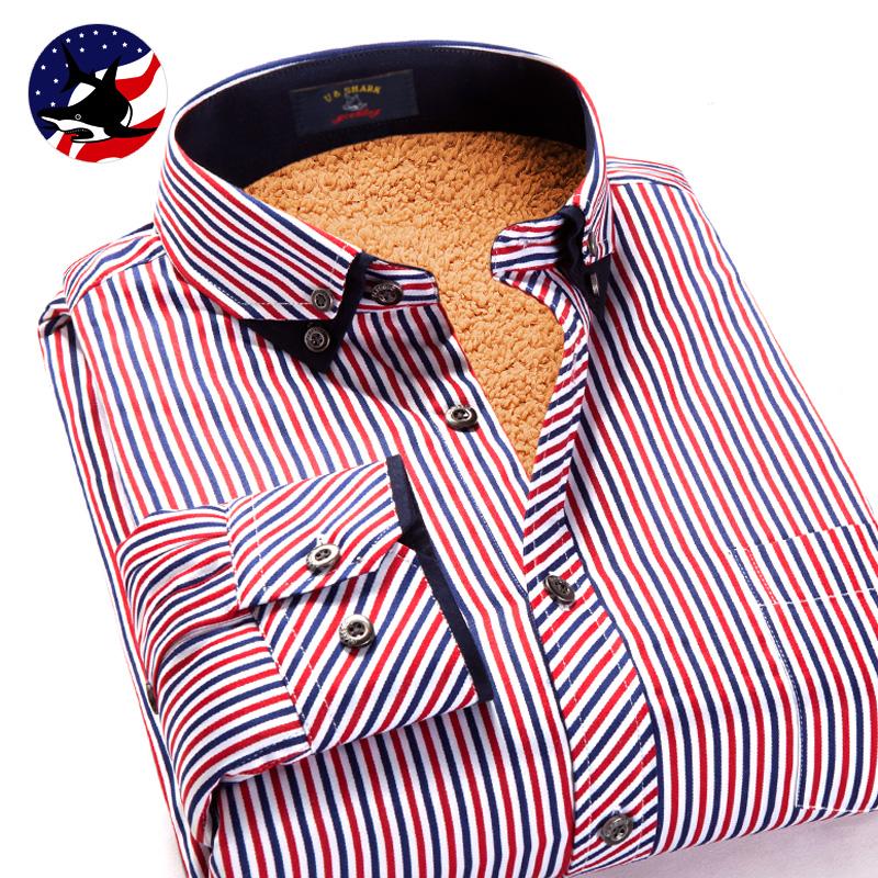优鲨冬男士保暖衬衫商务休闲加绒加厚条纹圆点羊羔绒长袖格子衬衣
